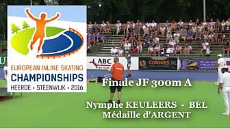 Nymphe KEULEERS BEL Médaille d'ARGENT au Championnat d'Europe  RollerPiste 2016 d'Heerde : Finale JF 300m vitesse A @FFRollerSports #TvLocale_fr