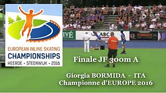 Giorgia BORMIDA ITA Médaille d'OR nouvelle Championne d'Europe  RollerPiste 2016 d'Heerde : Finale JF 300m vitesse A @FFRollerSports #TvLocale_fr