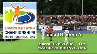 Marco DE FLAVIIS ITA BRONZE au  Championnat d'Europe  RollerPiste 2016 d'Heerde : Finale JH 300m vitesse A @FFRollerSports #TvLocale_fr