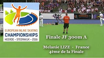 Mélanie LIZE de l'AL Saint-Sébastien 4ème au Championnat d'Europe  RollerPiste 2016 d'Heerde : Finale JF 300m vitesse A @FFRollerSports #TvLocale_fr