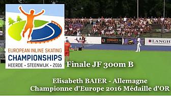 Elisabeth BAIER Championne d'Europe de RollerPiste Juniors Femmes JF 300m B à Heerle - Hollande
