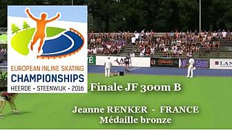 Médaille de BRONZE pour Jeanne RENKER au Championnat d'Europe  RollerPiste 2016: Finale B Juniors Femmes au  300m vitesse @FFRollerSports #TvLocale_fr
