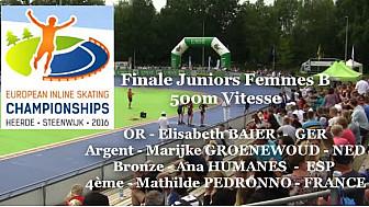 Elisabeth BAIER  -  GER Championnat d'Europe  RollerPiste 2016: Finale B Juniors Femmes au  500m vitesse @FFRollerSports #TvLocale_fr #CPAL-Locminé